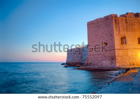 Dubrovnik old city defense walls. Location Croatia - Europe. HDR image. - stock photo