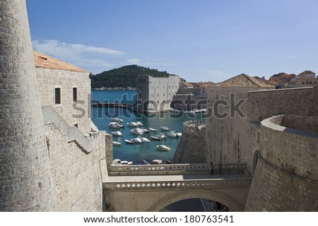 Dubrovnik Old City on the Adriatic Sea in Croatia, Dalmatia region - stock photo