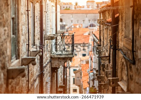 Dubrovnik old city street view in Croatia - stock photo