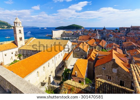 Dubrovnik old city: The Dominican Monastery, the port, Lokrum Island. Dalmatia, Croatia - stock photo