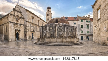 Dubrovnik Old Town, Big Onofrio's Fountain in Croatia. - stock photo