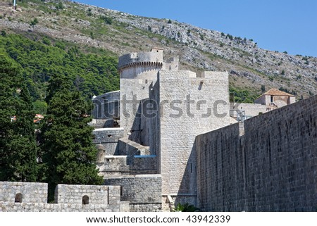 Dubrovnik old town - city walls layers detail with fortress Minceta