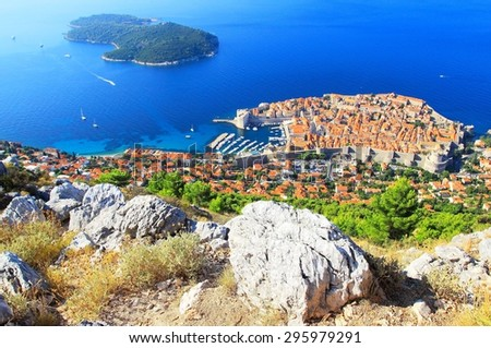 Dubrovnik Old town on the Croatian coast - stock photo