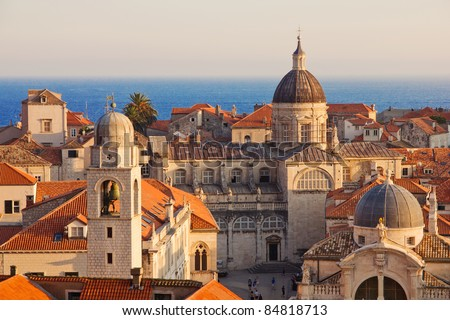 Dubrovnik Old Town roofs at sunset - stock photo