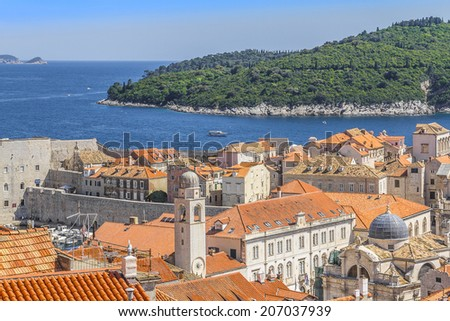 Dubrovnik panorama with traditional Mediterranean medieval houses with red tiled roofs. Dubrovnik - UNESCO World Heritage Site. Croatia, Europe. - stock photo