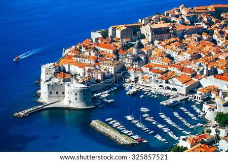 Dubrovnik, top-view of town and sea. Croatia. - stock photo