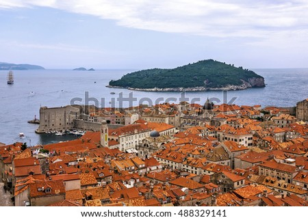 Dubrovnik town panoramic view, Croatia