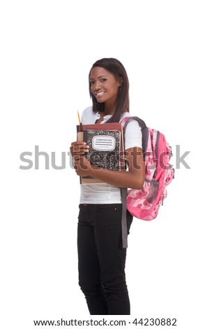 ducation series - Friendly ethnic black female high school student with backpack and composition book