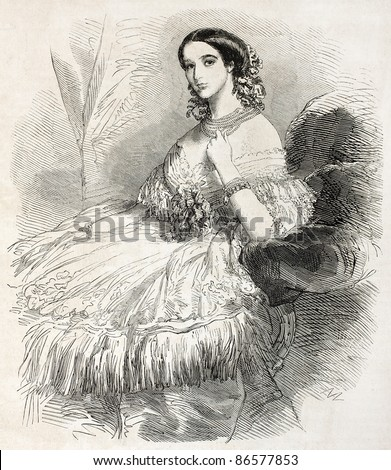 Duchess of Alba old engraved portrait. Created by Janet-Lange, published on L'Illustration, Journal Universel, Paris, 1860 - stock photo