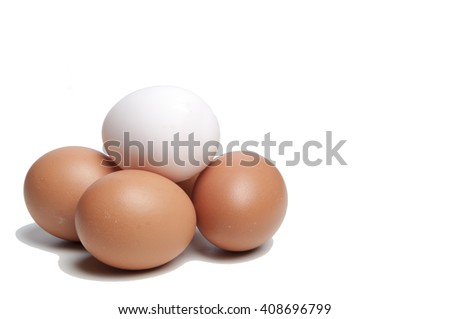 Duck and chicken eggs in paper tray isolated on white background