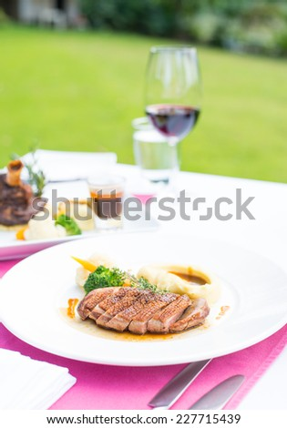 Duck breast and red wine at outdoor restaurant setting - stock photo