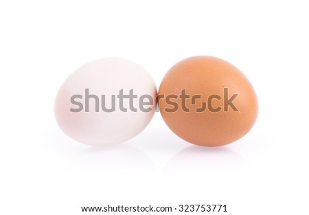 Duck eggs and chicken eggs isolated on white background