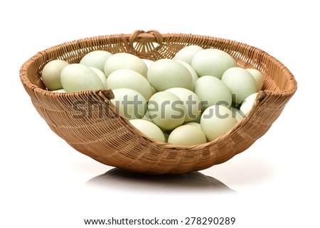 Duck eggs on white background  - stock photo