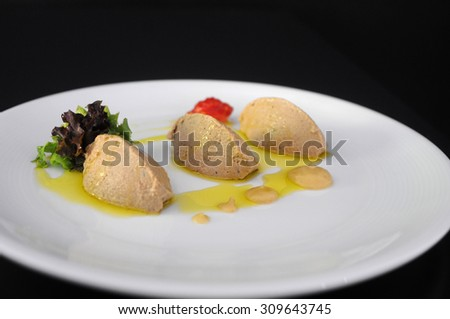 duck liver pate served with fruits jam - stock photo