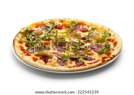 Duck Meat Pizza with Dried Tomato, Rucola and Mozzarella Cheese - stock photo