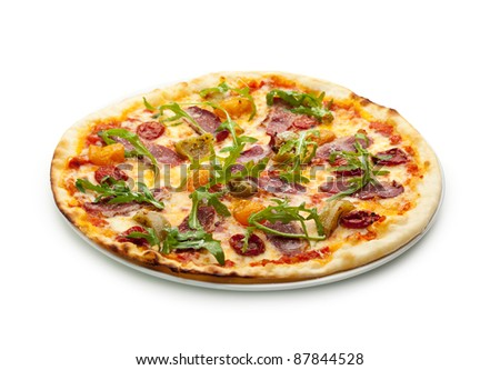 Duck Meat Pizza with Dried Tomato, Rucola and Mozzarella Cheese