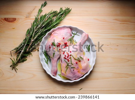 duck meat with rosemary and spices - stock photo