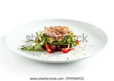 Duck Salad with Fruit and Rocket Salad - stock photo