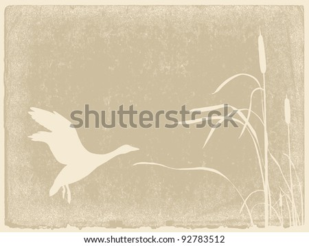 duck silhouette on yellow background - stock photo