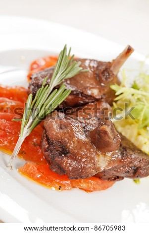 duck with salad - stock photo