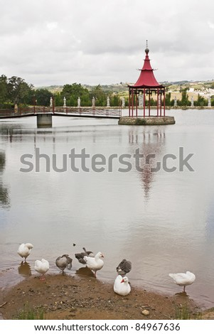 Ducks on the lake of bandstand of meditation - stock photo