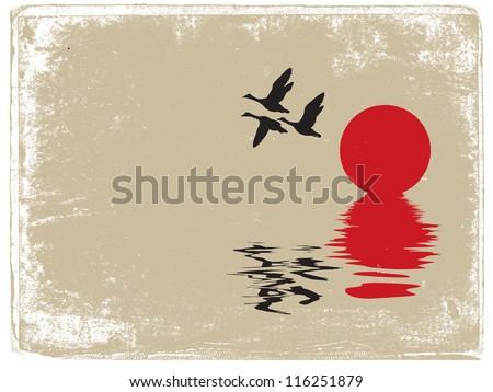 ducks silhouette on grunge background - stock photo