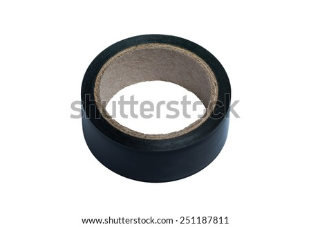 duct tape for electric wire, isolated, on white background, with clipping path - stock photo