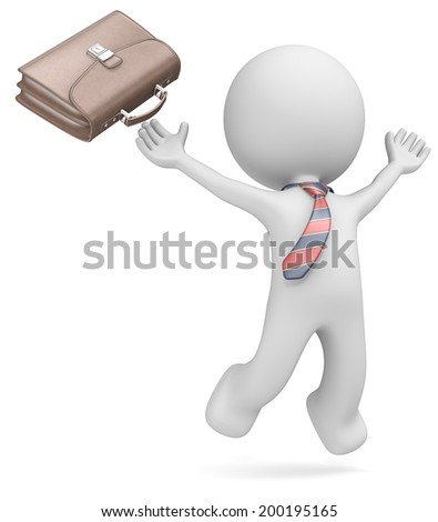 Dude the business man jumping of joy. Leather Briefcase and striped tie. Isolated. - stock photo