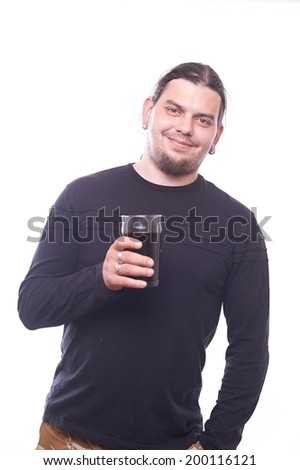 Dude with beer glass on white background, studio shot - stock photo