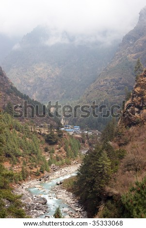 Dudh Kosi river valley, Everest trail, Nepal - stock photo