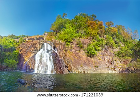 Dudhsagar falls. Bhagwan Mahavir Wildlife Sanctuary, GOA, India - stock photo