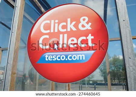Dudley - Apr 26: View of a Tesco logo on the outside of a Extra store on Apr 26th, 2015 in Dudley, UK. Tesco has announced the closure of 43 stores in the UK after reporting massive financial losses.  - stock photo
