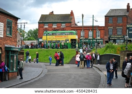 DUDLEY, ENGLAND - JULY 2. The Black Country Museum features many Victorian shop fronts set in recreated streets and is a popular tourist attraction. July 7 2016 in Dudley, England. - stock photo