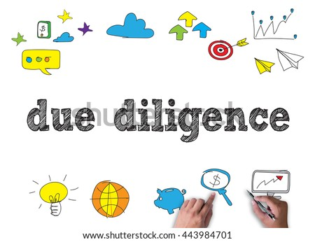 due diligence  businessman work on white broad, top view - stock photo