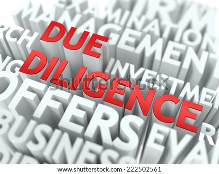 Due Diligence - Red Word on White Wordcloud Concept. - stock photo