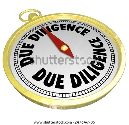 Due Diligence words on a gold compass showing importance of researching financial background, assets, liabilities and overall value of a company purchase or merger - stock photo