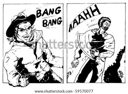 Duel scene of an old style western comic