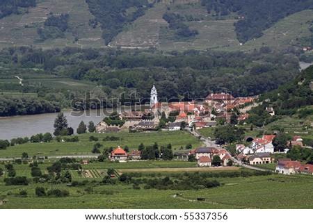 Duernstein at river Danube (Wachau, Lower Austria) - stock photo