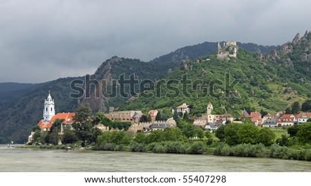Duernstein at river Danube (Wachau, Lower Austria) 01 - stock photo