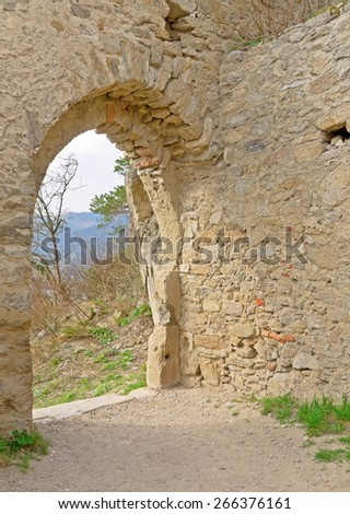 DUERNSTEIN, AUSTRIA - 28 March 2015: An archway of the castle in Duernstein, which was built in the 12th century. According to legend king Richard the Lionheart was imprisoned in the castle.  - stock photo
