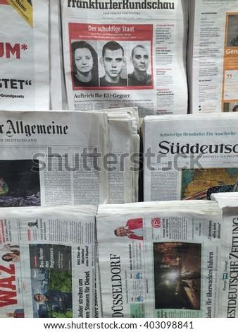 Duesseldorf,Germany- April 8,2016: Popular german newspapers in a store in Duesseldorf. - stock photo
