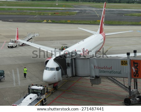 DUESSELDORF, GERMANY - CIRCA JUNE 2012: Aircraft of the Air Berlin Airlines at the airport - stock photo