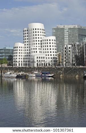 Duesseldorf Harbour scene - stock photo