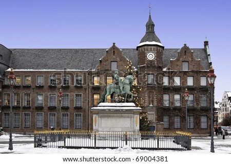 Duesseldorf Town Hall in the winter time in germany - stock photo