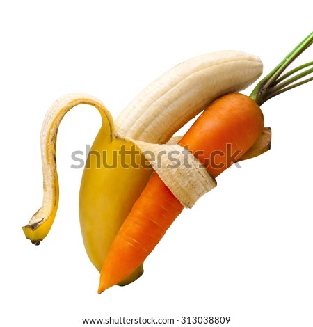 Duet bananas and carrots. Isolated on white background - stock photo