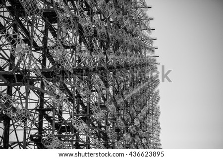 duga, chernobyl 2, radar, woodpecker, military radar in chernobyl zone - stock photo