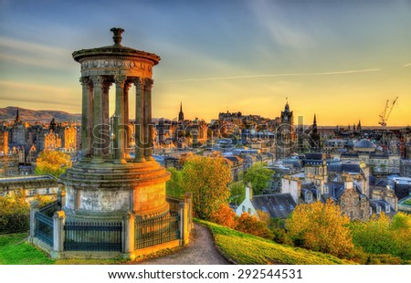 Dugald Stewart Monument on Calton Hill in Edinburgh - Scotland - stock photo