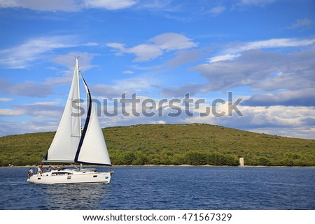 Dugi otok, Croatia - August 12, 2016: Yachts in a natural sea bay