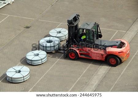 DUISBURG, GERMANY - 17 April 2014 Control forklift truck vehicle of transportation in Logistics Center - Logport Duisburg  - stock photo