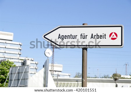 DUISBURG, GERMANY - 05.05.2016 Labor employment agency (Arbeitsamt or Agentur fuer Arbeit) sign against Railway and Bus Central Station Duisburg